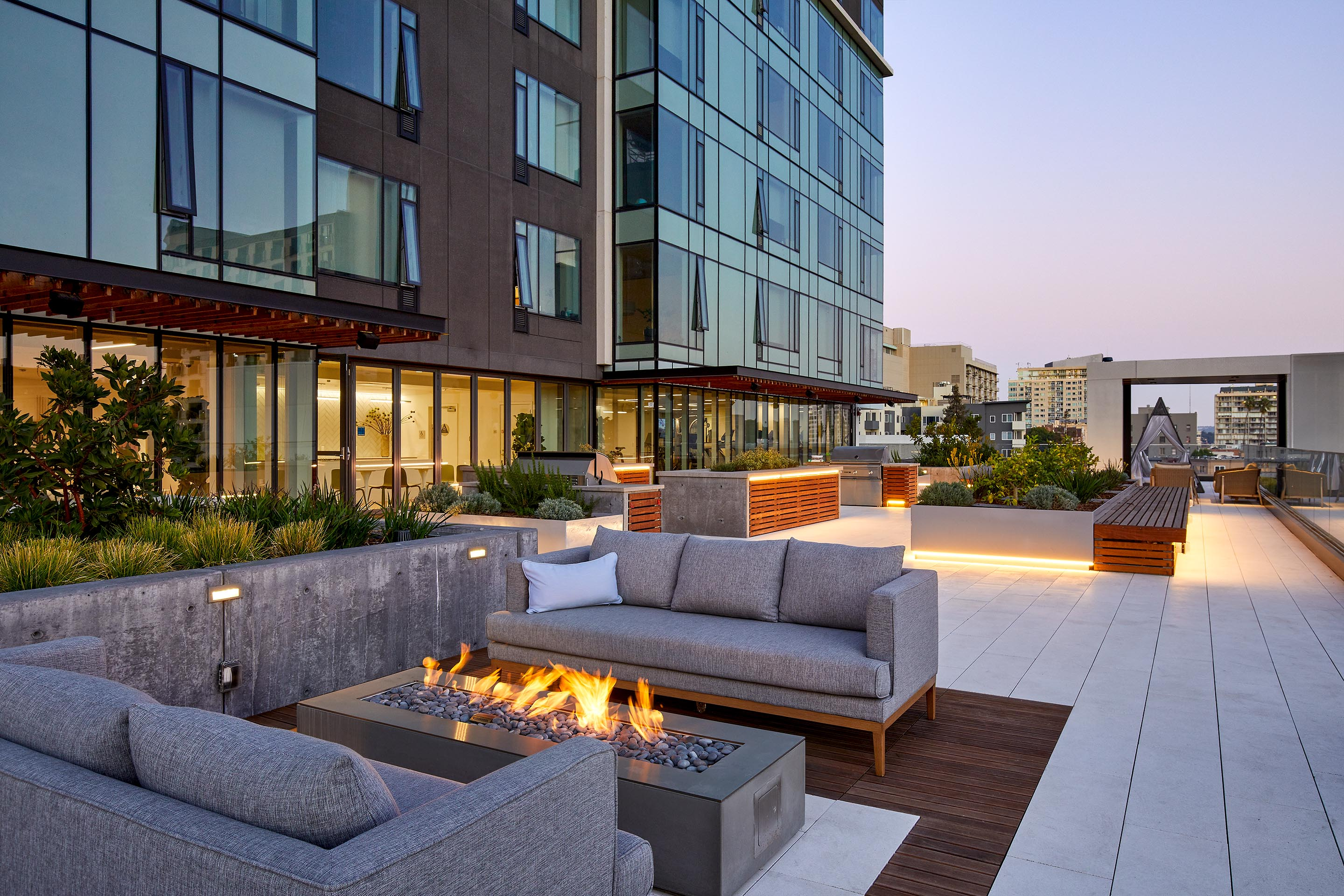 5th Floor Terrace at Night | ZO Downtown Oakland Apartments